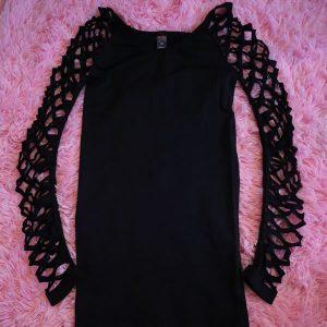 Black Long Sleeve Holey Dress