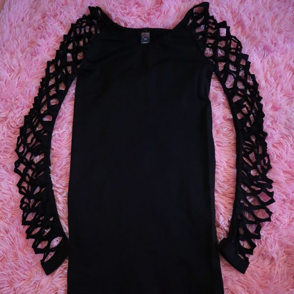Black Long Sleeve Holey Dress
