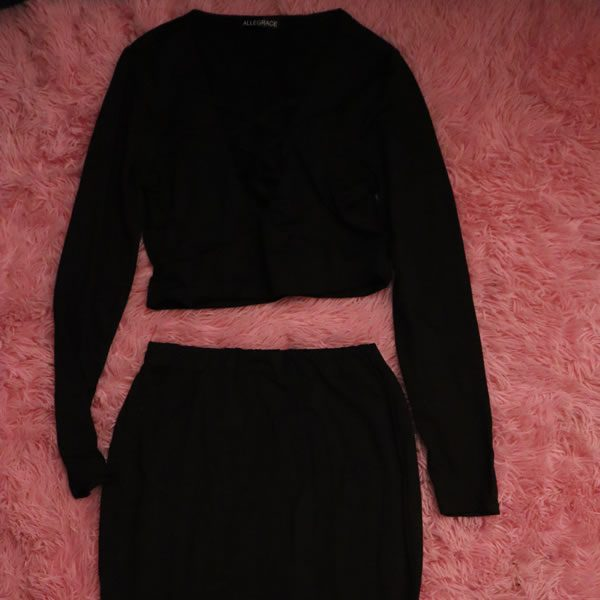 Black Top and Skirt Set