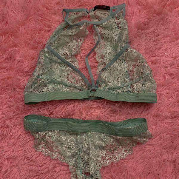 Green Lace Bra and Panties Set